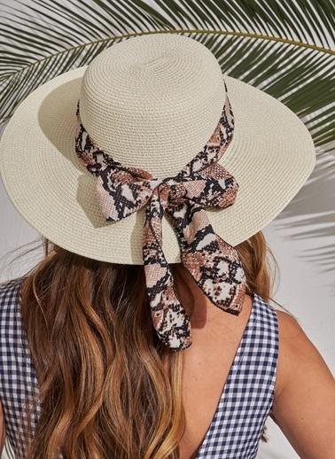 Morhipo Beach Yılan Desen Detaylı Şapka Ekru